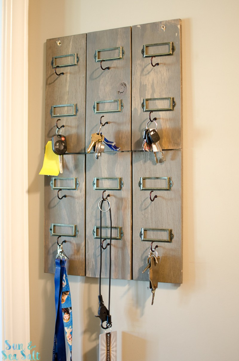 This hotel style key hook is easy to make and works well with rustic or industrial decor.