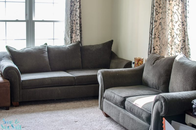 Our old furniture before the Slipcover Company makeover