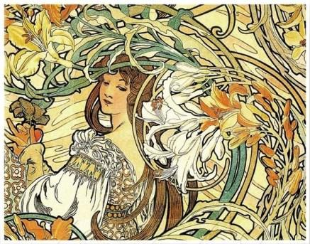 An Alphonse Mucha artwork, showing a young woman amongst spiralling plants.