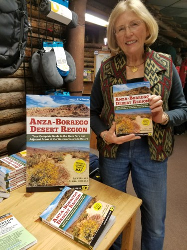 Diana Lindsay with her book Anza-Borrego Desert Region 6th edition