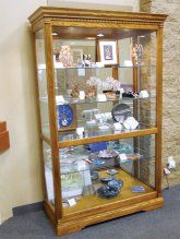 The Lapidary display case displays creations by club members.