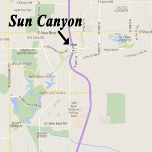 Map to Sun Canyon Scottsdale