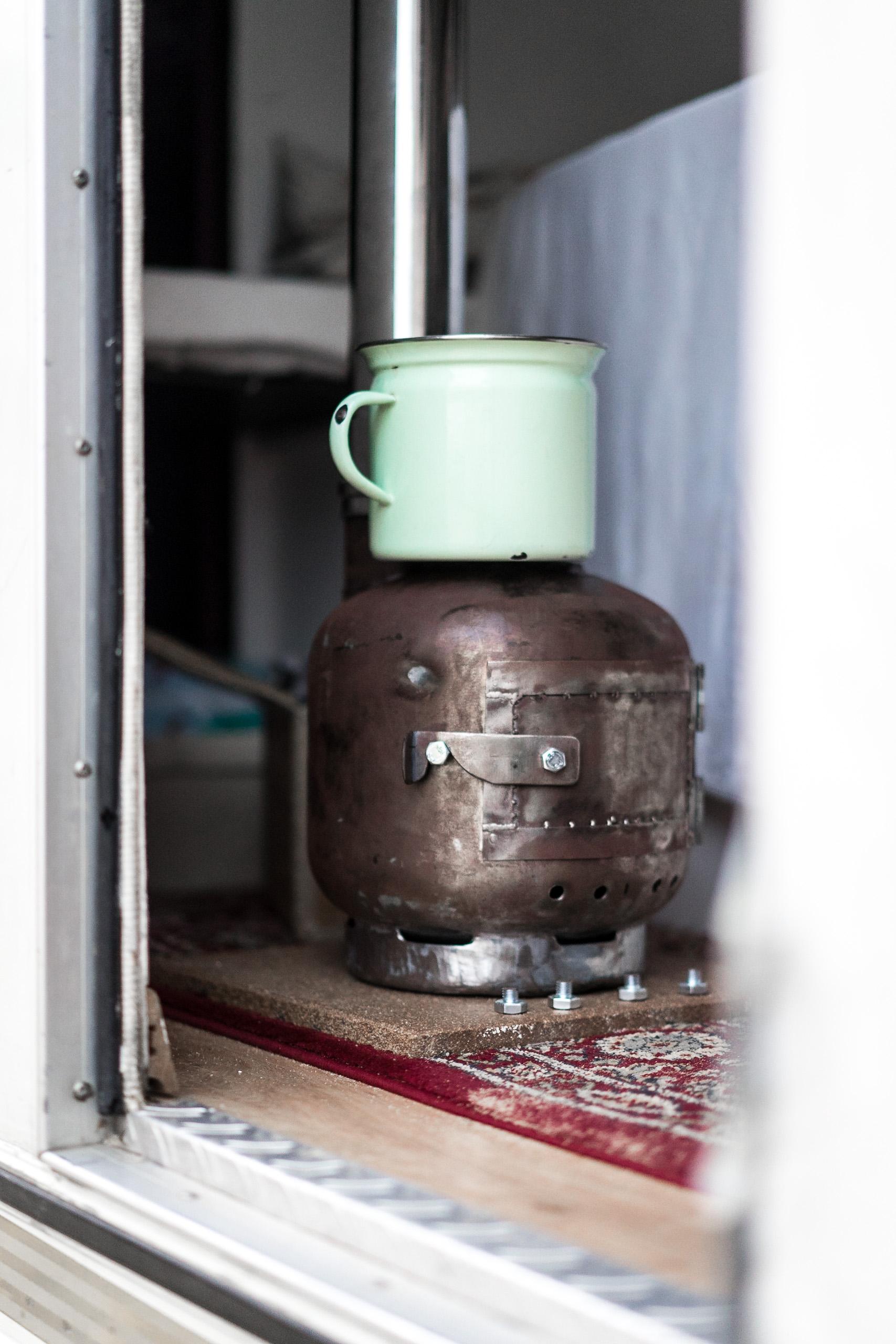sunchasin, wood burner, gas bottle, vanlife