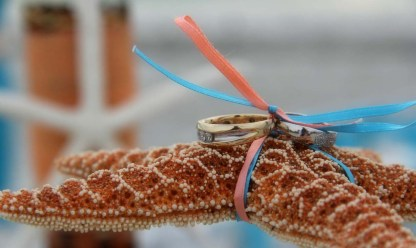 starfish and rings with blue and peach