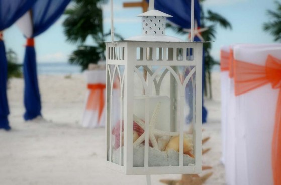 lantern with starfish and shells