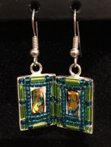 Combination of dichroic and glass mosaic earrings