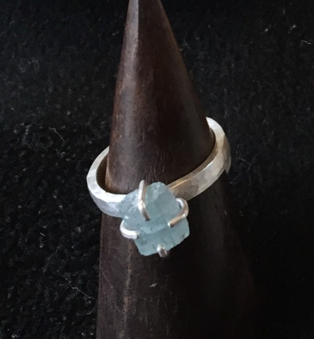 Faceted Indutries COlorado aquamarine and silver ring