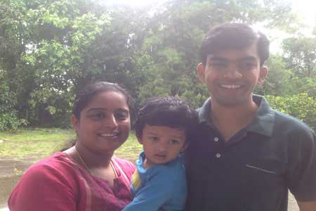 Guests of the Only Vegetarian Homestay in Wayanad Lavanya, Pradyu and Badrinath