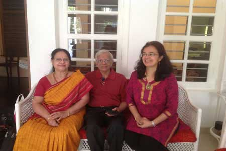 Guests of the Only Vegetarian Homestay in Wayanad Rangamani, K S Madhavan and Usha