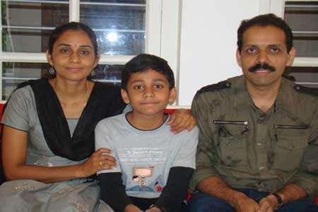 Guests of the Only Vegetarian Homestay in Wayanad Sureshbabu, Geeta and Arjun