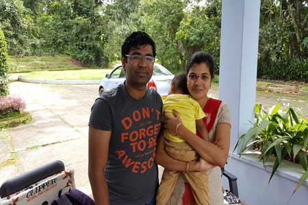 Guests of the Only Vegetarian Homestay in Wayanad Uday, Deepthi and Vihaan