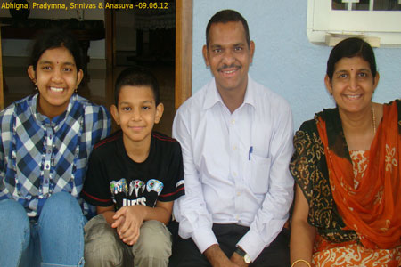 Sundara Mahal Vegetarian Homestay guests Anasuya and family