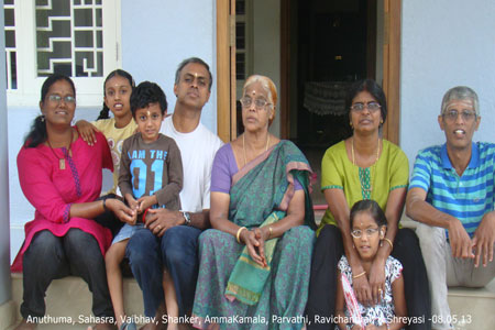 Sundara Mahal Vegetarian Homestay guests Anuthama and family