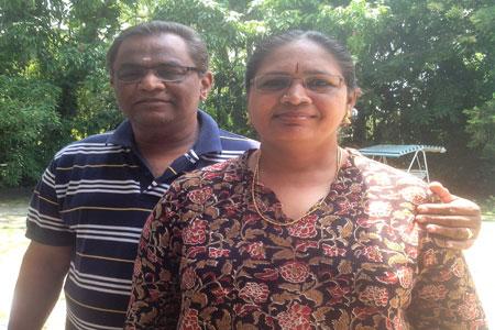 Sundara Mahal Vegetarian Homestay guests Bhuvana and family