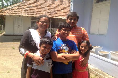 Sundara Mahal Vegetarian Homestay guests Lakshmi and family