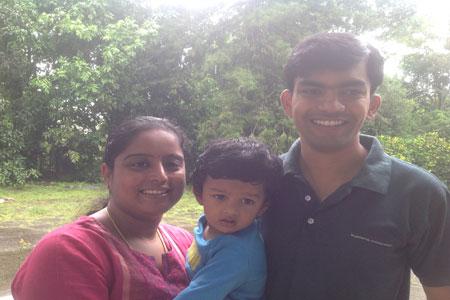 Sundara Mahal Vegetarian Homestay guests Lavanya and family