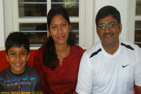 Sundara Mahal Vegetarian Homestay guests Rekha Pradeep and family