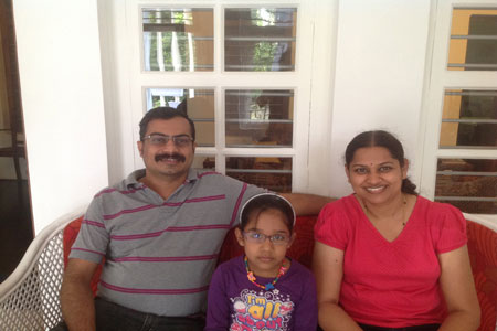 Sundara Mahal Vegetarian Homestay guests Sandhya and family