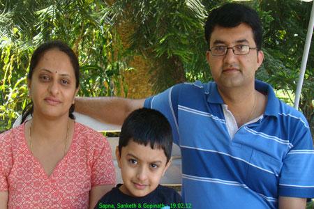 Sundara Mahal Vegetarian Homestay guests Gopinath and family