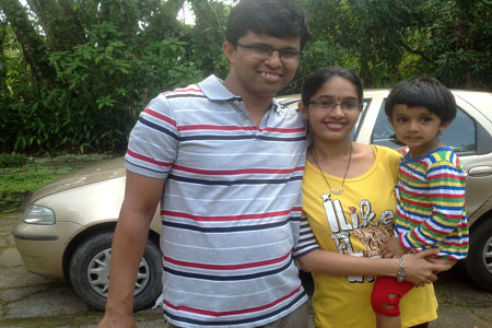 Sundara Mahal Vegetarian Homestay guests Shrilakshmi and family
