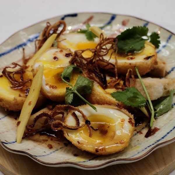 Son-in-Law Eggs with Mango and Tofu