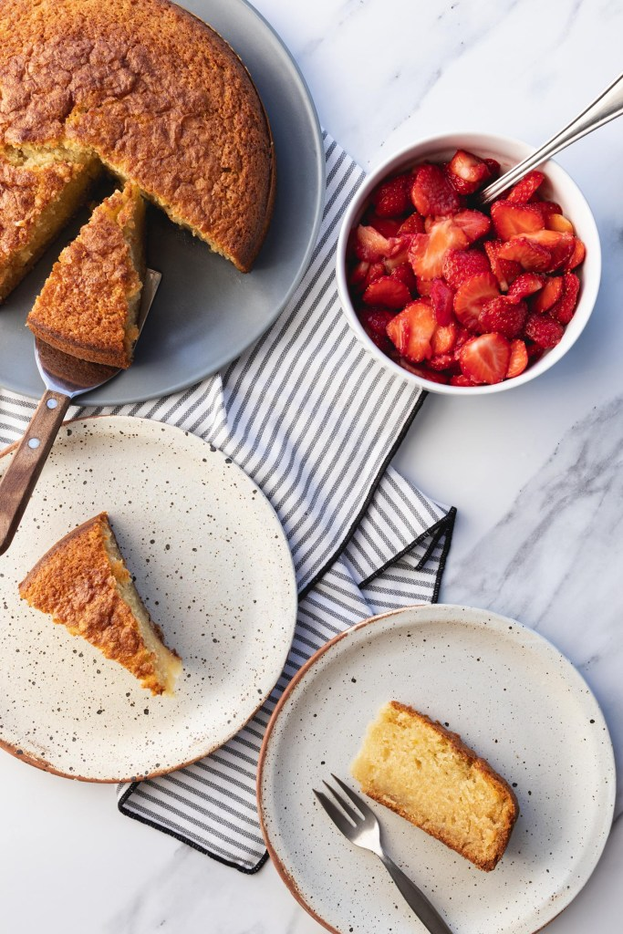 italian olive oil cake with macerated strawberries