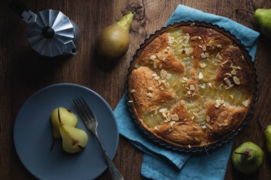 pear frangipane tart with poached pears