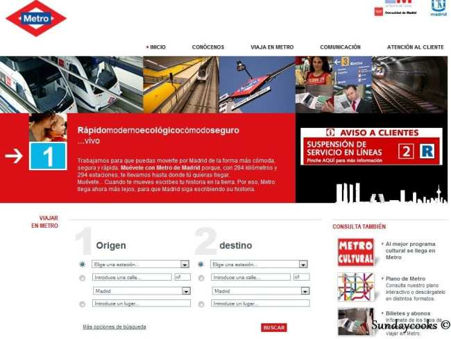 Metrô de Madri - pesquisa de rotas