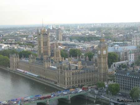a vista do alto do London Eye