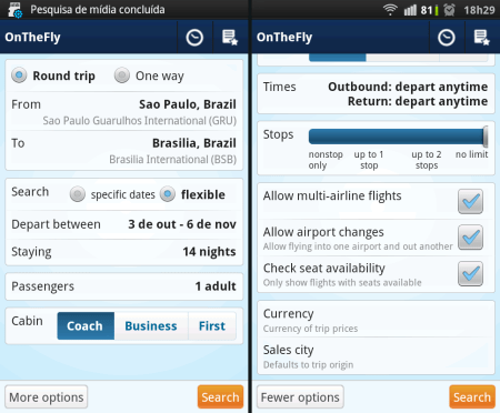 OnTheFly ITA Software - telas