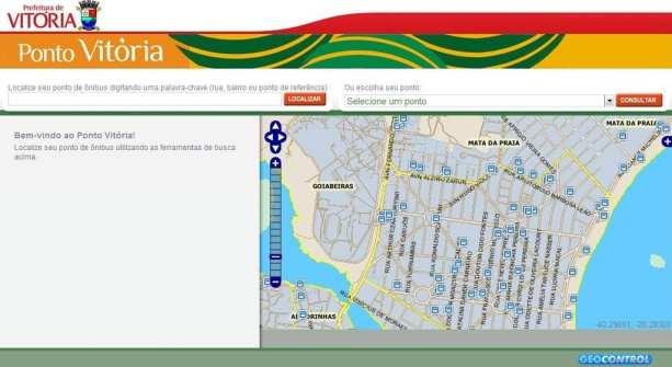Pontos de ônibus no mapa