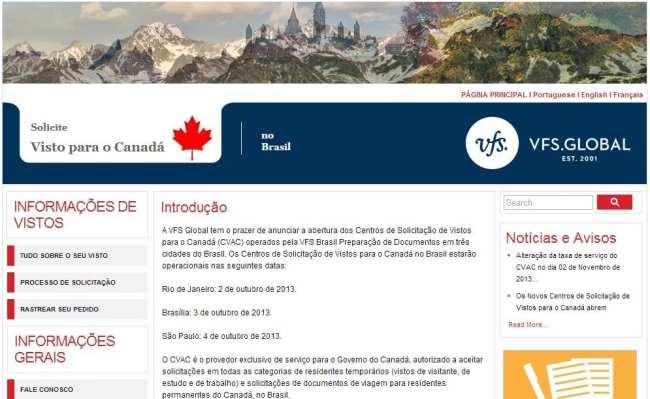 Como tirar o visto canadense - site do VAC/CVAC