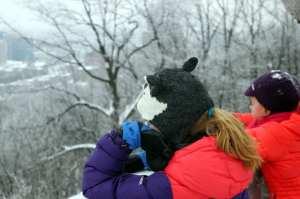 Montreal no Inverno - crianças no mont-royal