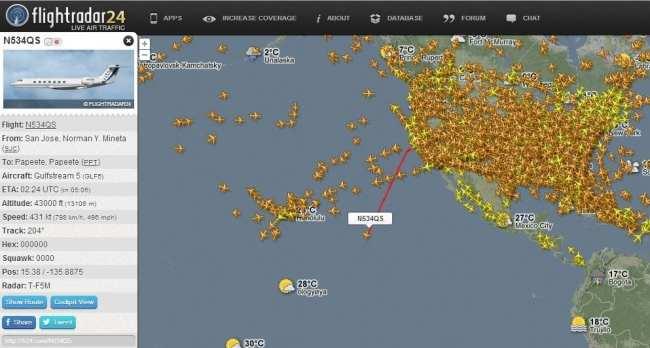 FlightRadar24 - rotas dos vôos