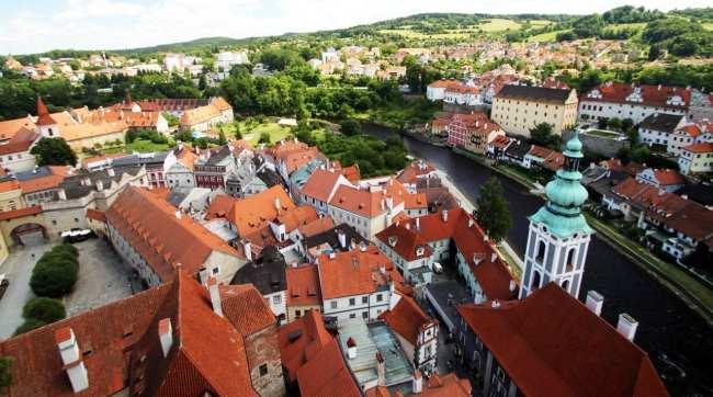 Cesky Krumlov UNESCO - Vista da torre do castelo