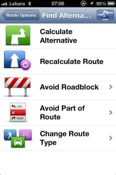 App de GPS TomTom - Opções de rotas alternativas