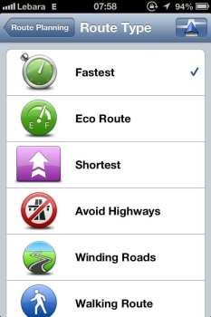 App de GPS TomTom - Tipos de Rota 1