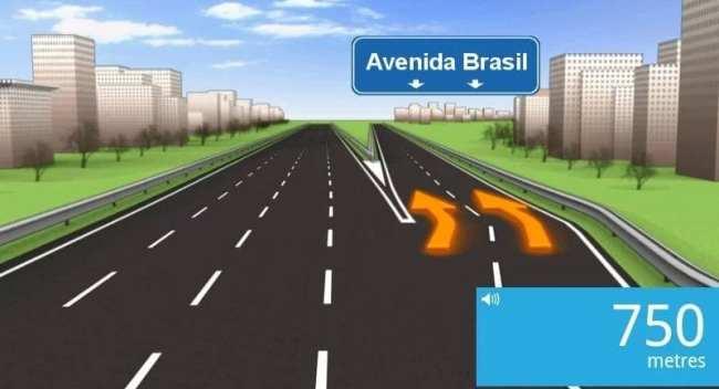 App de GPS TomTom - Exemplo de saída de estrada