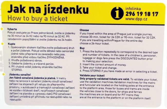 Como usar o metrô de Praga - Instruções de compra dos passes