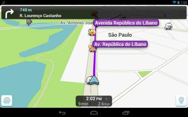 Review Waze GPS - exemplo de rota
