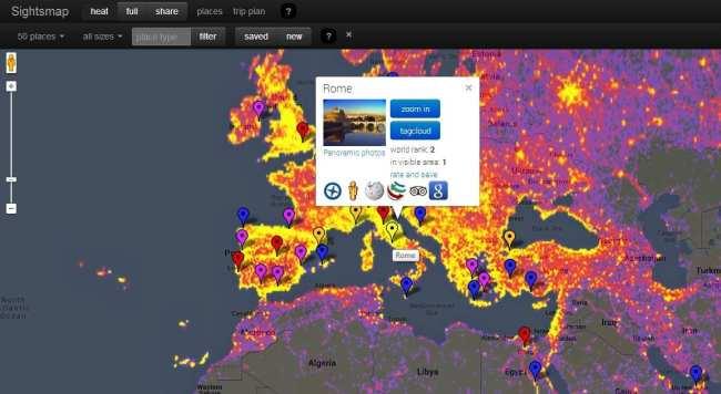 Sightsmap Lugares mais fotografados do mundo - Europa e Roma