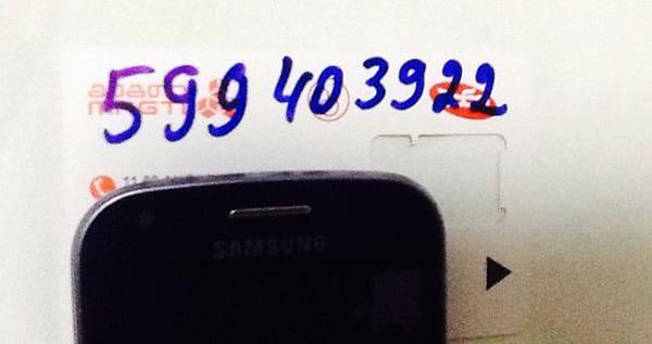 Meu número georgiano, anotado pelo atendente da Magti