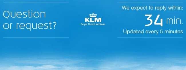 KLM nas redes sociais - tempo de espera no twitter