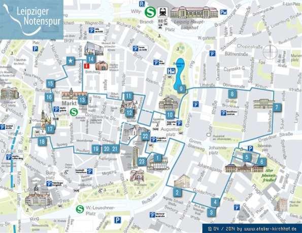 Roteiro de Leipzig - Mapa da rota da musica em leipzig