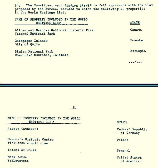Documento original com os primeiros Patrimônios Mundiais