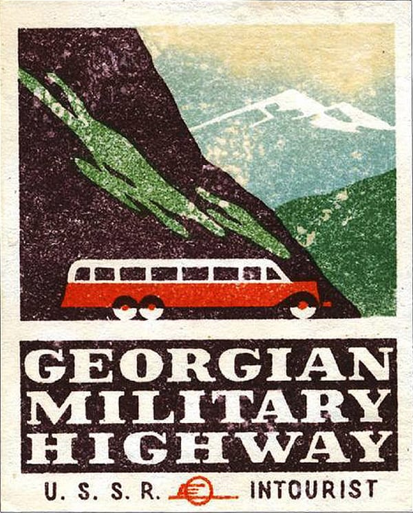 Poster antigo da Rodovia Militar Georgiana