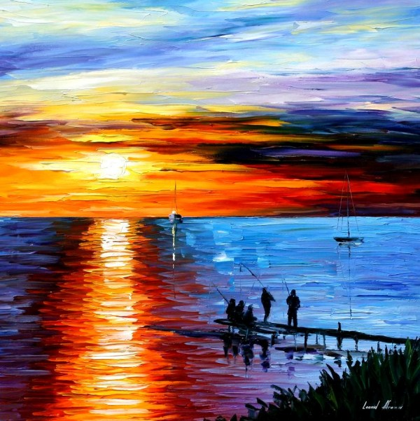 Leonid Afremov Sunday Evening Art