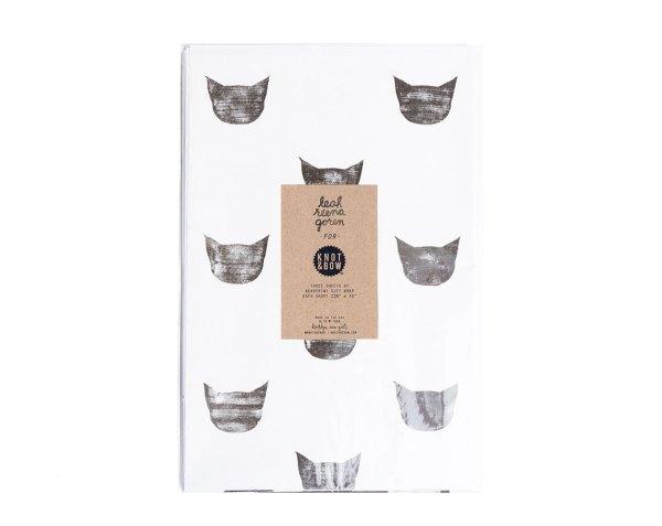 Anniversaire Minimaliste - Papier cadeau Tête de Chat Noir et blanc 1