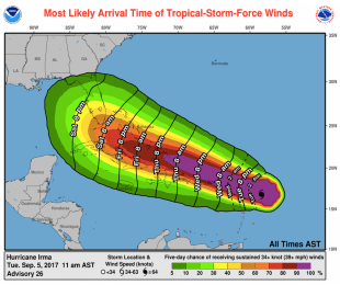 Hurricane Irma's projection cone on Tuesday, Sept. 5, the day it was classified a Category 5 hurricane. Courtesy of NOAA.