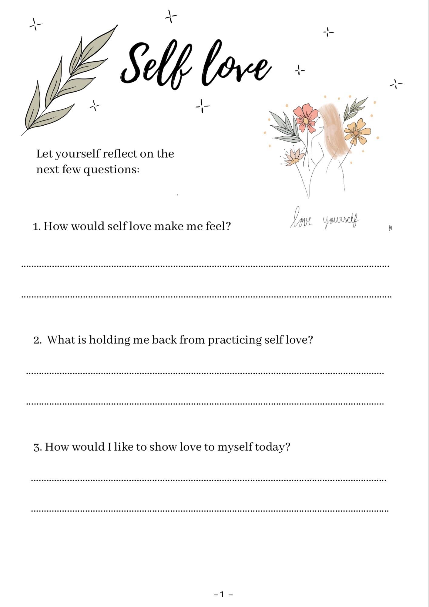 Worksheet For Self Love Sunday Rituals